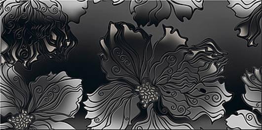 "Декоры Валькирия Азори: Валькирия Декор Антрацит ""Цветы"" 40,5х20,1"